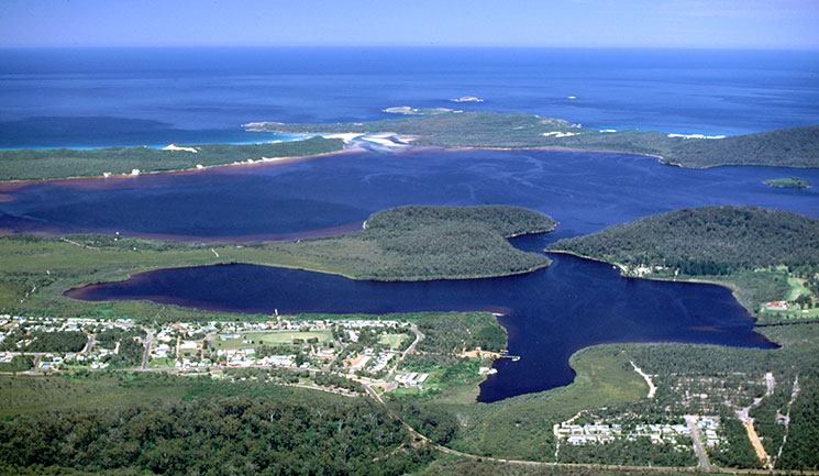 A birdseye view of Walpole township, Walpole Inlet, Nornalup Inlet, and the Southern Ocean.
