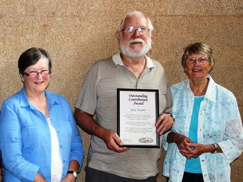 (L-R) Elizabeth Shaw, Mike Murphy, and Lee Hunter upon presenting Mr Murphy with his WNDHS Award for Outstanding Contribution