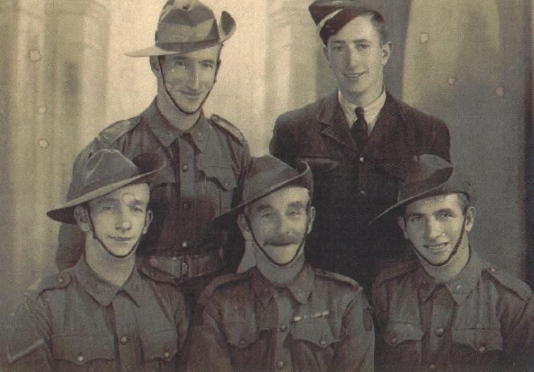 Jack Anning, George Anning, Len Anning, Samuel Anning, Arthur Anning. Group photo during World War II (c1943)