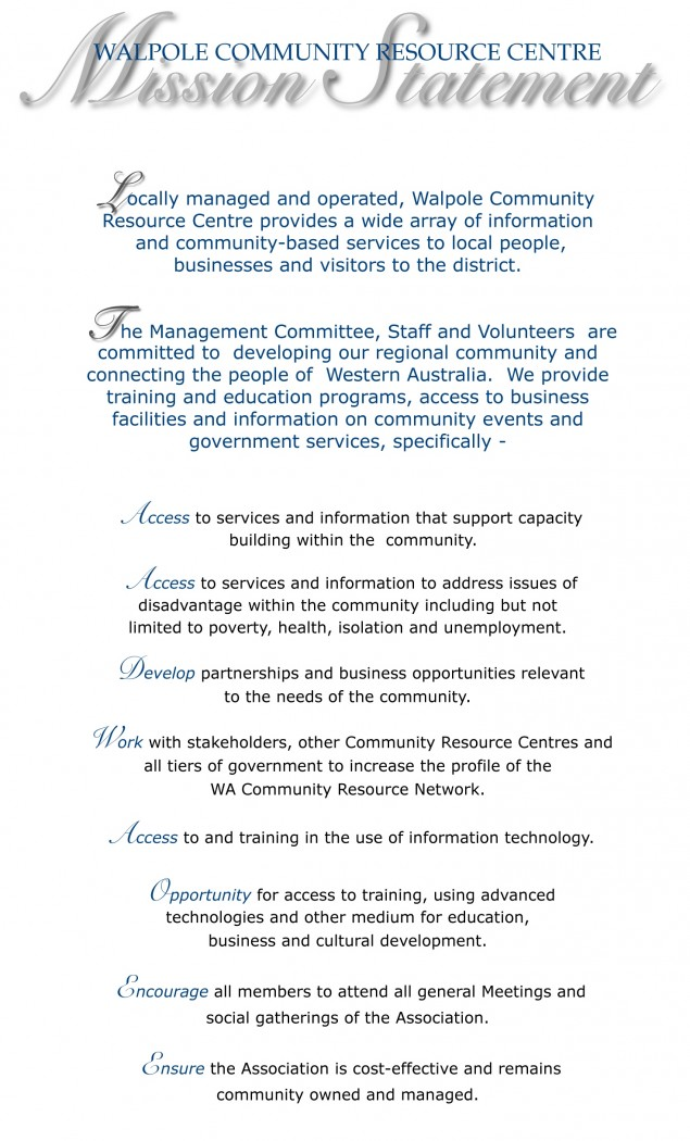 Walpole CRC Mission Statement