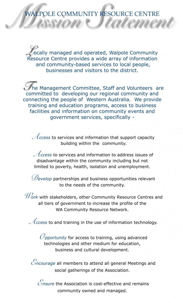 Walpole CRC Mission Statement