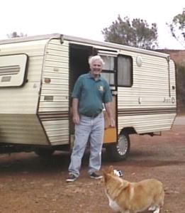 Geordie, Nikki, and their caravan