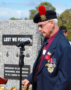 Geordie delivering the Ode during Walpole's ANZAC Day service 2015. Pic: David Gillbanks