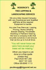 Roderick's Tree Lopping & Landscaping Services